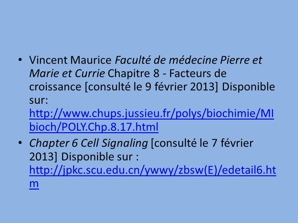 Vincent Maurice Faculté de médecine Pierre et Marie et Currie Chapitre 8 - Facteurs de croissance [consulté le 9 février 2013] Disponible sur: http://www.chups.jussieu.fr/polys/biochimie/MIbioch/POLY.Chp.8.17.html